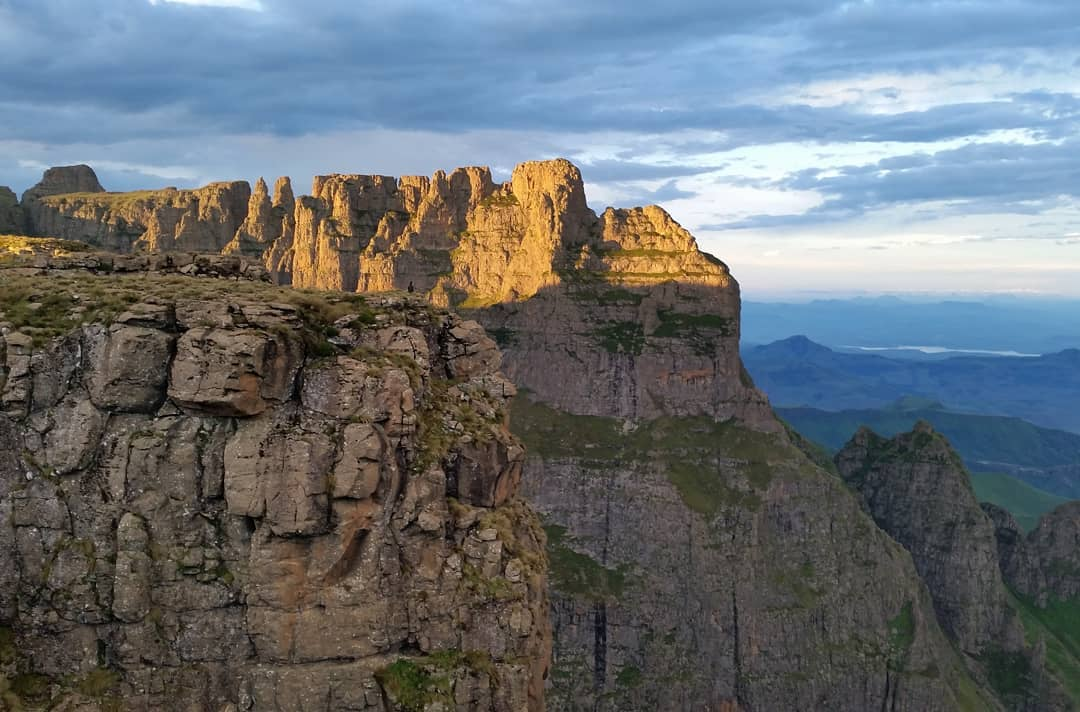 View of the Rockeries, Mnweni area, with Drakensberg Hiker
