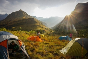 Drakensberg Hiker tents near The Sentinel and Cathedral Peak